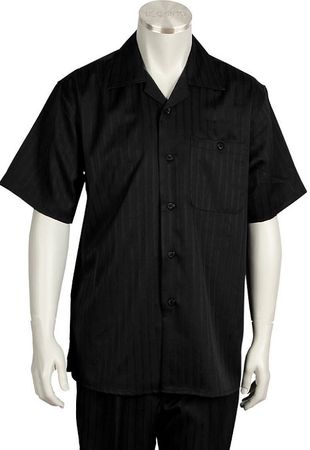 Canto Leisure Suit Mens Black Stripe Short Sleeve Walking Set 696