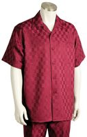 Canto Mens Wine Checker Design Short Sleeve Walking Suit 6104