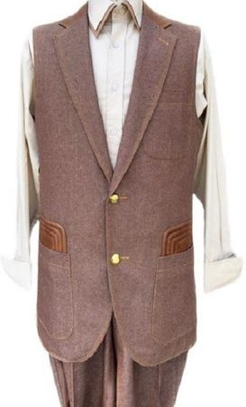 Canto Mens Brown Denim Leather Accent Long Vest Outfit 9088