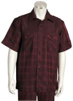 Canto Mens Wine Square Plaid Short Sleeve Casual Walking Suit 6105