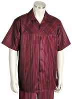 Canto Mens Wine Unique Stripe Short Sleeve Walking Suits 6102