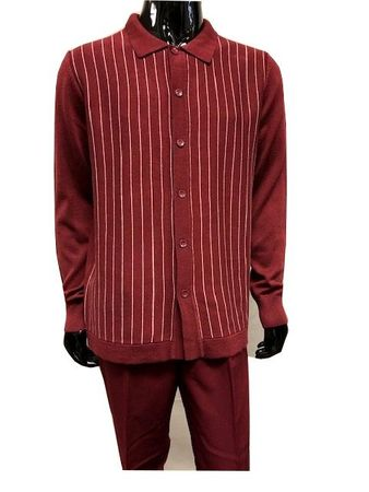 Men's Sweater and Pants Set Burgundy Stripe Button Front WS838