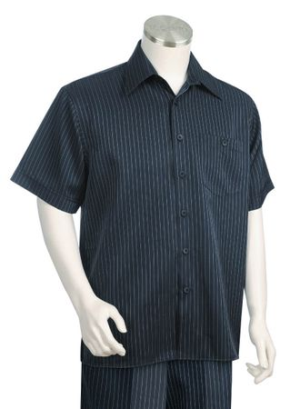 Canto Navy Pinstripe Short Sleeve Wide Leg Leisure Suit 685