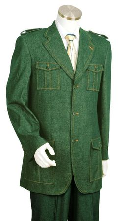 Canto Olive Green Military Style Jean Suit 8372