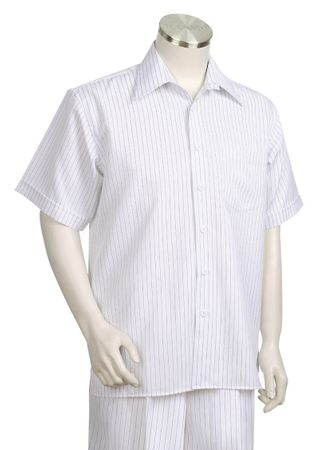 Canto White Pinstripe Short Sleeve Walking Suits 685 - click to enlarge
