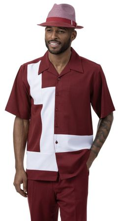 Montique Short Sleeve Walking Suit Burgundy White Block 2077
