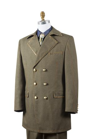 Canto Mens Olive Denim Double Breasted Jean Fashion Suit 8387
