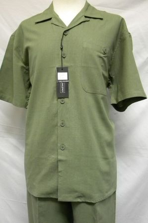 Mens Big Size Linen Outfits Olive Green by Trust L601SPX