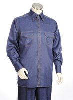 Canto Shiny Denim Style Long Sleeve Walking Suit 869