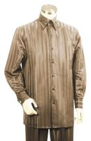 Canto High Collar Shiny Satin Stripe Casual Walking Suits 859