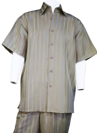 Canto Taupe Shiny Satin Stripe Casual Walking Suits 859