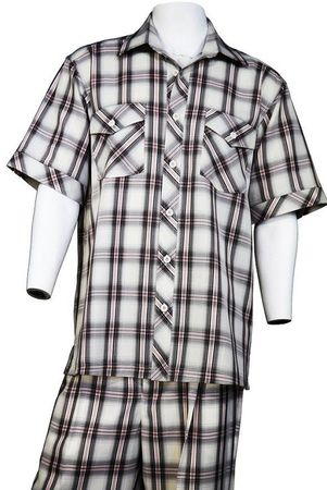 Canto Short Sleeve Walking Sets Black Plaid  Pattern 6107