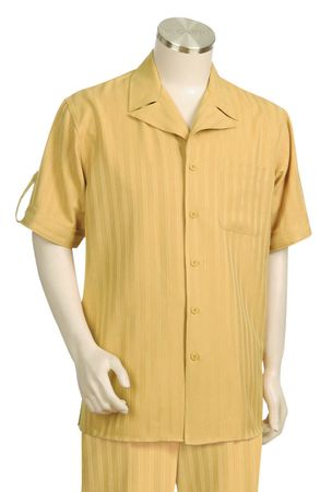 Canto Wide Collar Stripe Short Sleeve Walking Suits 683 - click to enlarge