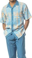 Mens Dress Outfits by Montique Blue Stripe Plaid Set 1730
