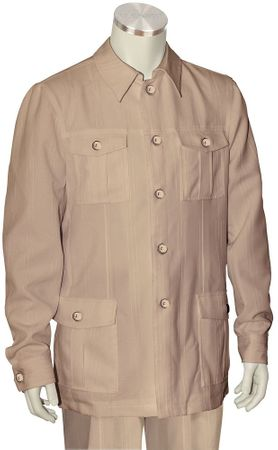 Canto Taupe Leisure Suit Pocket Front Jacket 8364