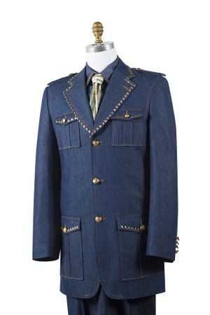 Canto Mens Blue Denim Military Style Jean Fashion Suit 8389
