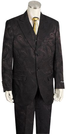 Canto Urban Wide Leg Black Olive Paisley Fashion Suit 8359