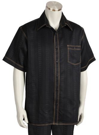 Canto Walking Sets Black Denim Style Short Sleeve 698