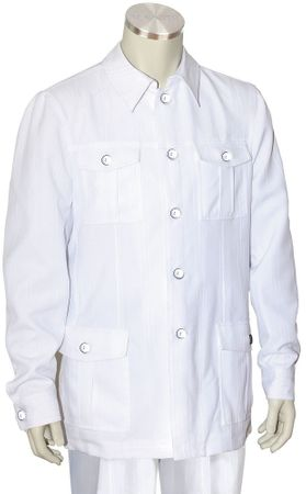 Canto White Leisure Suit Pocket Front Jacket 8364