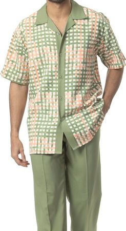 Mens Dress Outfits by Montique Olive Green Stripe Plaid Set 1730 IS - click to enlarge