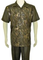 Pronti Mens Olive Gold Foil Pattern Walking Suit SP6255