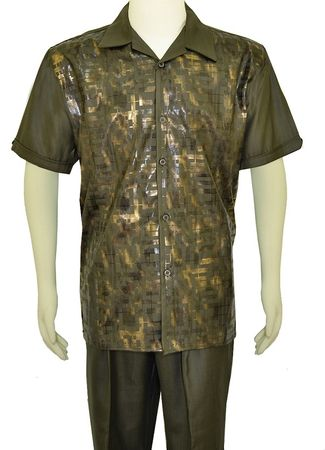 Pronti Mens Olive Gold Foil Pattern Walking Suit SP6255 - click to enlarge