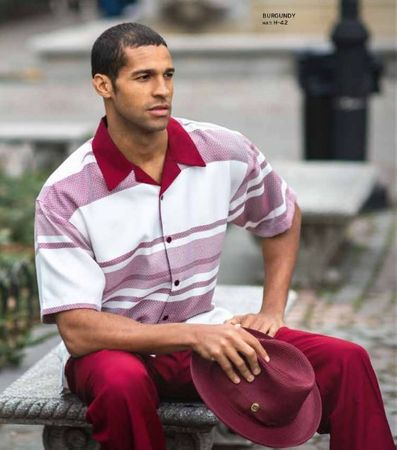Casual Party Outfit for Men Burgundy Stripe Shirt Montique 1933 Size  2XL