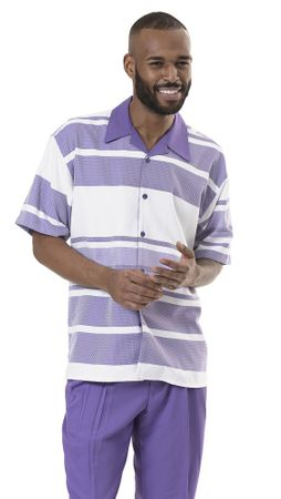 Casual Party Outfit for Men Purple Stripe Shirt Montique 1933 Size XL/38
