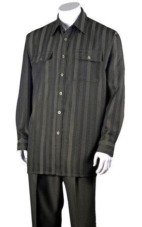 Fortini Mens Olive Green Stripe Casual Two Piece Walking Set 2761