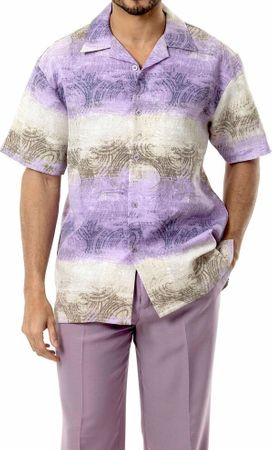 Mens Leisure Outfits by Montique Lavender Woven Set 1747 - click to enlarge