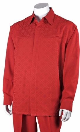 Fortino Mens Red Diamond Pattern Two Piece Walking Suit 2762