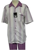 Pronti Big Size Lilac Stripe Short Sleeve Walking Set 6105X