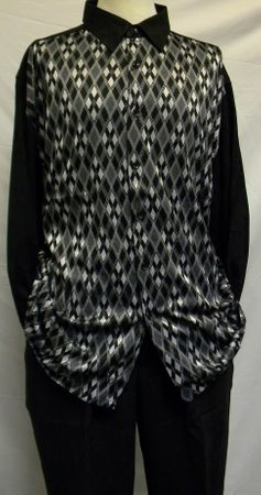 Cellangino Black Diamond Knit Front Walking Suits MS1303 - click to enlarge