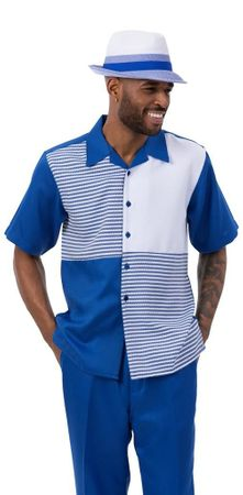 Montique Men's Short Sleeve Walking Suit Royal Blue White Block 2082 Size L, 2XL