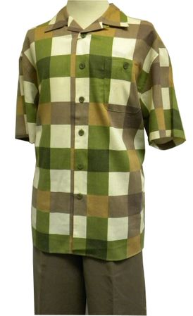 Mens Brown Plaid Linen Rayon Casual Walking Suit LN1611SP Size XL