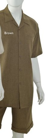 Christi Mens Heather Brown Casual Short Set 41401 Size M, L