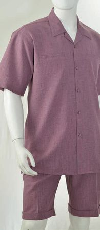 Christi Mens Plum Heather Casual Fashion Short Set 41401