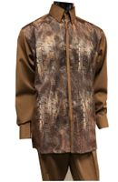 Pronti Mens Brown Metallic Front Party Walking Suit 6344