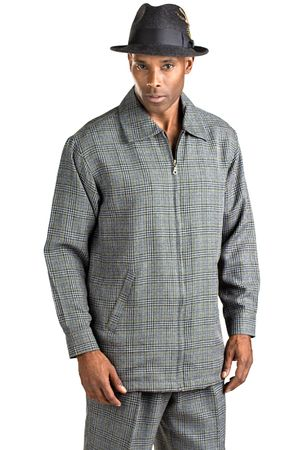 Montique Grey Plaid Mens Leisure Suits JP30 - click to enlarge