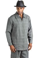 Montique Grey Plaid Mens Leisure Suits JP30