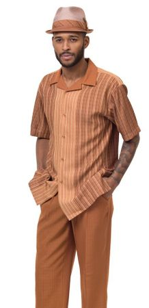 Montique Short Sleeve Walking Suits Mens Caramel Stripe Set 1846 - click to enlarge