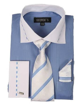 George Blue White Collar Cuff Dress Shirt Tie Set AH621 - click to enlarge