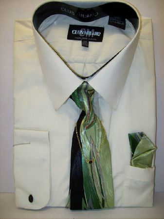 Club Milano Big Size Mens Mint Dress Shirt and Tie Set 3322 - click to enlarge