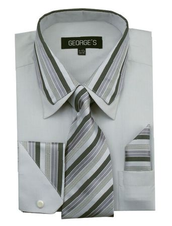 Men's Stylish Gray Stripe Collar Dress Shirt Tie Combo AH611