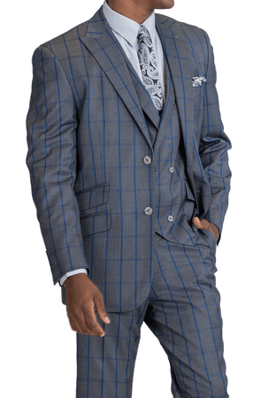 Blu Martini Men's Gray Blue Windowpane 3 Piece Suit Mate 8144-721 - click to enlarge