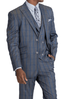 Blu Martini Men's Gray Blue Windowpane 3 Piece Suit Mate 8144-721