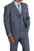 Blu Martini Men's Gray Blue Windowpane 3 Piece Suit Mate 8144-721 IS