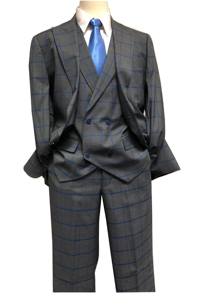 4a33e851 Blu Martini Men's Gray Blue Windowpane 3 Piece Suit Mate 8144-721 IS