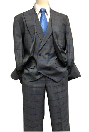 Blu Martini Gray Blue Windowpane 3 Piece Suit Mate 8144-721 IS - click to enlarge
