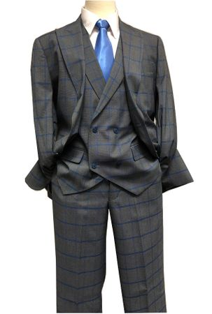 Blu Martini Gray Blue Windowpane 3 Piece Suit Mate 8144-721 IS